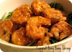 """Copycat Recipe: Bonefish Grill Bang Bang Shrimp - This one is a little different than the """"official"""" copycat recipe from The Food Network magazine; the honey might be a nice addition? Shrimp Dishes, Shrimp Recipes, Copycat Recipes, Fish Recipes, Great Recipes, Favorite Recipes, I Love Food, Good Food, Yummy Food"""