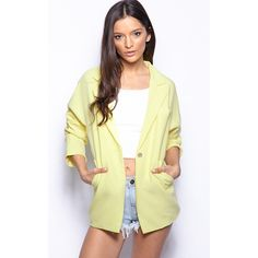 Giselle Yellow Premium Longline Blazer ($20) ❤ liked on Polyvore featuring outerwear, jackets, blazers, yellow, longline blazer, yellow jacket, yellow blazer jacket, yellow blazers and gold button blazer