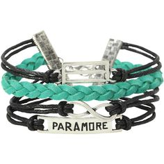 Paramore Logo Bracelet 4 Pack | Hot Topic ($4) ❤ liked on Polyvore featuring jewelry, bracelets, accessories, bands, green charm, bracelet charms, black bracelet, black bangles и black jewelry