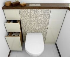 I love the idea of building the toilet out from the wall and building in drawers for storage