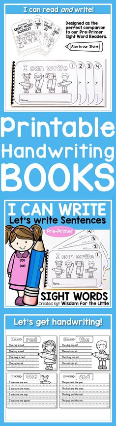 Get those fine motor skills progressing with these handwriting books. Covering all 40 pre-primer sight words, these printable handwriting books are a fabulous. With their visually appealing layout, they are loved by teachers, homeschool mum's and early learns alike.