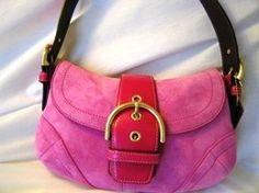 Coach Handbag Baguette Hobo Hot Pink Fioscha Suede