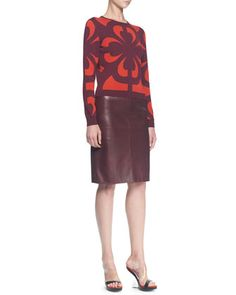 a4c12879650ae1 Graphic Jacquard Knit Top and Plonge Leather Slim Skirt by Alexander  McQueen at Neiman Marcus.