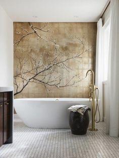 salle de bain zen bambou deco chambre zen bambou baignoire blanche