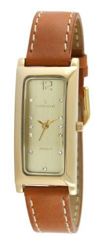 Peugeot Women's 3029G Gold-tone Rectangle Crystal Marker Tan Leather Strap Watch Peugeot. $50.40