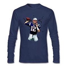 Jahei Custom Tom Brady 12 American Football Shirt for Man Long Sleeve Royal Blue XX-Large