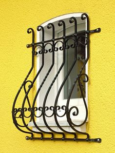 Forged grid with belly Modern Window Grill, Iron Window Grill, Balcony Grill Design, Window Grill Design, Front Yard Garden Design, House Front Design, Wrought Iron Window Boxes, Burglar Bars, Mode Poster