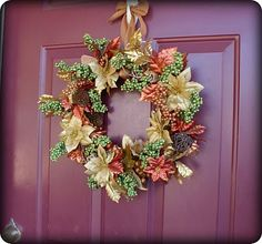 "*This is a repost.  Bringing it back cause it is that time of year, and fall is in the air today.  Are you ready to decorate, harvest style? I spent $9 at the Dollar Tree and made this harvest wreath for my front door. I got the inspiration after googling ""fall decor ideas"" and running across"