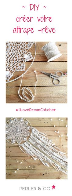 Dreamcatcher attrape rêve DIY facile napperon au crochet dentelle et franges jersey - - Dreams Catcher, Dreamcatcher Crochet, Los Dreamcatchers, Doily Dream Catchers, Diy And Crafts, Arts And Crafts, Do It Yourself Baby, Ideias Diy, Diy Crochet