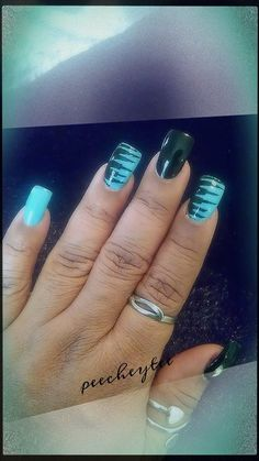 Black n mint nails #teal #prettynails #nailart - bellashoot.com & bellashoot iPhone & iPad