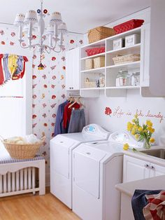 A Rant About Laundry Rooms–and Some Solutions « Hooked on Houses Great post on laundry rooms. I especially appreciated the ideas about distance from the bedrooms because ours is currently in the. White Laundry Rooms, Laundry Room Inspiration, Design Basics, Laundry Room Design, Laundry Area, Laundry Storage, Small Laundry, Colorful Decor, Mudroom