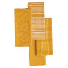 Set of four cotton dishtowels in daffodil.  Product: Set of 4 dishtowelsConstruction Material: 100% CottonFeatures: Daffodil motifDimensions: 28 x 18 eachCleaning and Care: Machine washable
