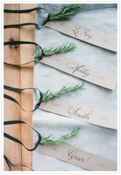 Escort and name cards for seasons, holidays and celebrations! Herb escort cards for a winter wedding-Rose Mary, pine or spring weddings-lavender, purple sage, fennel.