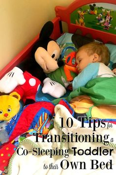 Figuring out how to transition a co-sleeping toddler to their own bed can seem like an impossible task, but it's easier than you think and it WILL happen. Here are some tips to help with the co-sleeping transition!
