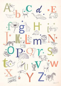 Retro Alphabet Poster for Children - ABC print - L'Affiche Moderne : I want this one!