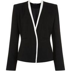 Jumpo Black Contrast Trim Blazer (820.230 IDR) ❤ liked on Polyvore featuring outerwear, jackets, blazers, pocket jacket, long sleeve blazer, open front blazer, long sleeve jacket and open front jacket