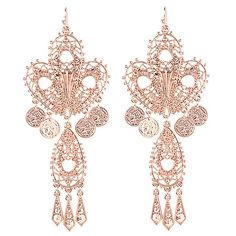 "147-187 - Lesli Dale 4.5"" Filigree & Coin Charm Chandelier Earrings"
