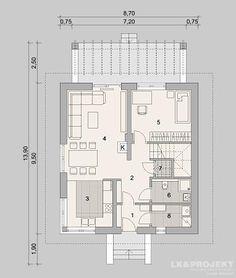 Projekty domów LK Projekt LK&1153 rzuty Parter
