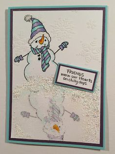 Build a snowman reflection with #Stampendous for your holiday #cre8time. #DWStencils