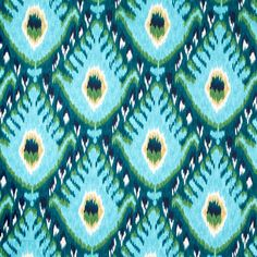 A unique ikat upholstery fabric in a large-scale design of aqua blue, turquoise, sea green, white and navy blue. This fabric is suitable for all