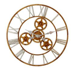CONTEMPORARY 'ANTIQUE GOLD LOOK ROMAN NUMERAL' WALL CLOCK