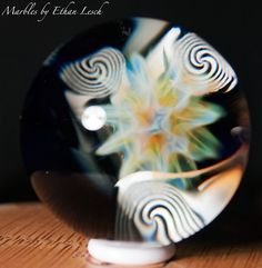 "1.40"" HANDMADE MARBLE SIGNED BY ~ETHAN LESCH~ BOROSILICATE, BORO, ART, MIB #Glass"