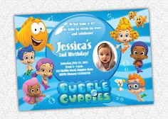 Bubble Guppies Birthday Invitation by PrintSparkle on Etsy, $8.00