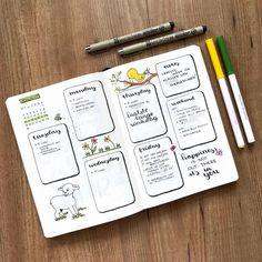Bullet journal weekly layout,  hand lettering,  cute animal cartoon drawings,  flower doodles.  | @bullet.rookie