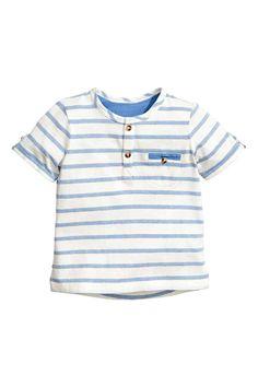 Camisa de mangas curtas - Azul/Risca branca - CRIANÇA | H&M PT 1