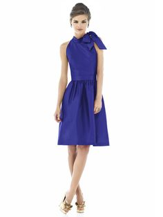 Electric blue Alfred Sung- interesting neckline!