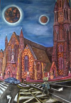 St. John´s Cathedral Limerick Oil on canvas 118.5 x 74.5 cm