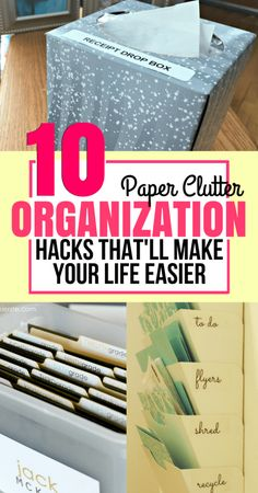 How to organize your paper clutter when you have a huge stack of it? This list covers amazing hacks to help you organize all of your paper clutter in creative ways. home organization ideas for paper clutter