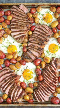 Sheet Pan Steak Eggs and Potatoes - Everyone's favorite steak and eggs turned into a complete SHEET PAN BREAKFAST! No fuss, no extra pans and easy clean up! dinner photography Sheet Pan Steak Eggs and Potatoes Steak Recipes, Cooking Recipes, Salmon Recipes, Vegan Recipes, Brunch Recipes, Dinner Recipes, Brunch Food, Sheet Pan Suppers, One Pan Dinner