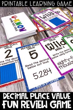 This fun, printable decimal place game is perfect to use during times of distance learning, e-learning or in the classroom during math centers!  This interactive review game is similar to UNO and can be learned easily and played over and over.  Great learning game to play with the family to review decimals!