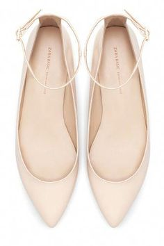 f1d0daf419d Zara Pointed Ballerina Flats With Ankle Strap