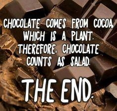 Chocolate comes from cocoa which is a plant. Therefore, chocolate counts as salad. The end. #deathbychocolate