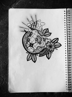 nautical globe floral tattoo design illustration.