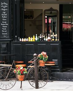 Bicycle in front of Odette, Paris by Nichole