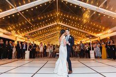 Elaine Palladino; miami wedding; glamorous miami wedding; formal gardens; Vizcaya; bride and groom first dance; black and white dance floor;
