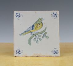 Antique Dutch Delft Tile Bird Circa 1625 1650 Polychrome   eBay
