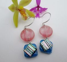 Pink Watermelon Tourmaline & Fused Dichroic Glass-Solid Sterling Silver Dangles #DropDangle