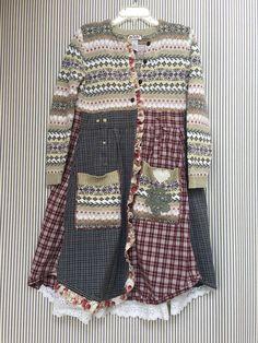 Upcycled Sweater Jacket Long Sweater Coat Shabby Prarie Chic