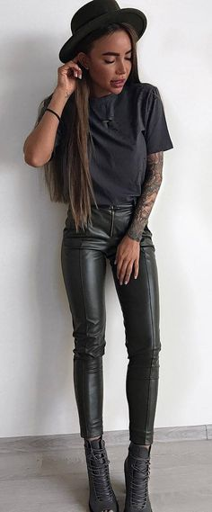 black on black_hat + tee + leather pants + boots #omgoutfitideas #clothing #lookoftheday