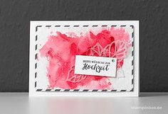 Hochzeitskarte in Flamingorot