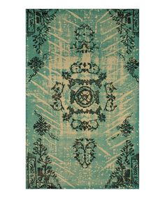 Look at this Green Damask Rug on #zulily today!