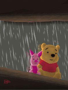 Rainy Day Friends Pooh Piglet gif