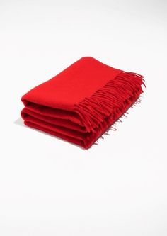 & Other Stories. Oversized Wool Scarf in Red