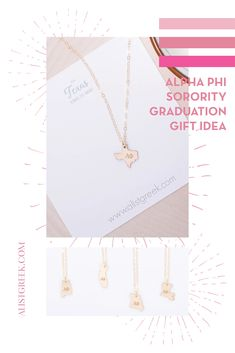 Spoil your Alpha Phi Grad with a custom sorority state necklace! Alpha Phi Grad Gift | APhi Sorority State Necklace | College Graduation Gift Idea | Grad Gift for Her | Grad Gift for Girlfriend | Grad Gift for Daughter | Grad Gifts for Best Friends | Personalized State Necklace | Sorority Graduation Necklace #HappyGraduation #SororityGrad Kappa Alpha Theta, Pi Beta Phi, Alpha Chi Omega, Delta Sorority, Sigma Tau, Tri Delta, Delta Zeta, Phi Mu, Sorority Graduation