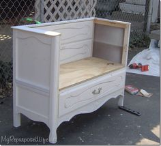 repurpose dresser without drawers | cut out the top 2 drawer areas. I used the 2 drawer fronts to make ...