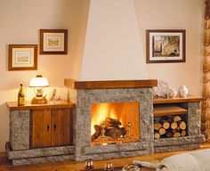 Like this double sided fireplace with shelves but on a smaller scale Rustic Fireplaces, Modern Fireplace, Fireplace Design, White Wash Brick Fireplace, Double Sided Fireplace, Fireplace Shelves, Outdoor Oven, Electric Fireplace, Miniature Furniture